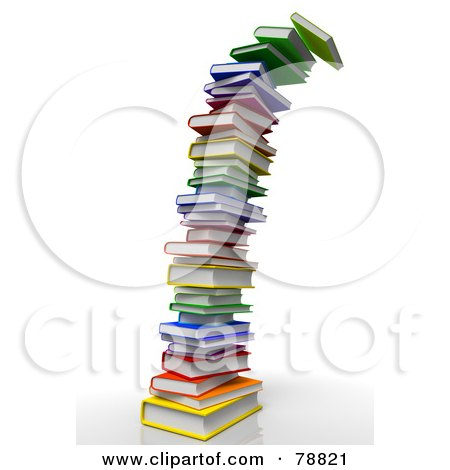 Royalty-Free (RF) Clipart Illustration of a 3d Tall Toppling Tower Of Colorful Text Books by Tonis Pan