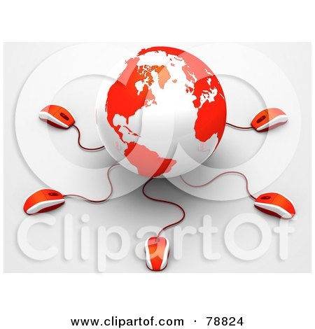 Royalty-Free (RF) Clipart Illustration of a 3d Red And White Globe With Many Networked Computer Mice by Tonis Pan