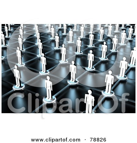 Royalty-Free (RF) Clipart Illustration of a 3d Aerial View Of Paper People On Network Lines by Tonis Pan