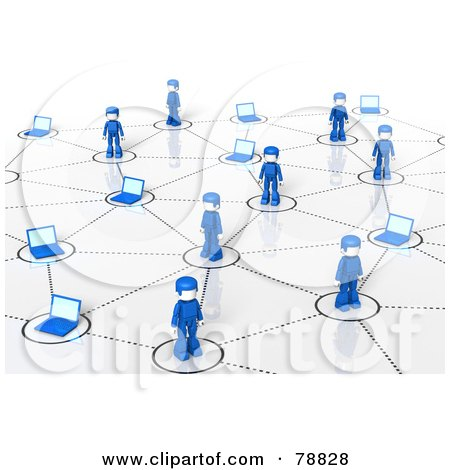 Royalty-Free (RF) Clipart Illustration of a 3d Social Network Of Blue People And Laptops by Tonis Pan