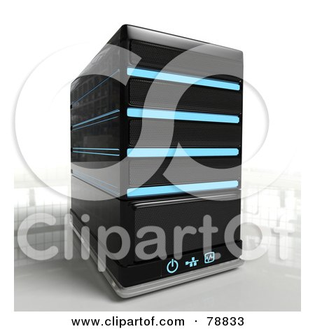 Royalty-Free (RF) Clipart Illustration of a 3d Single Black Computer Server Tower With Blue Lights by Tonis Pan