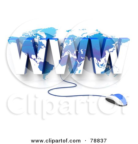 Royalty-Free (RF) Clipart Illustration of a 3d Blue Computer Mouse Connected To A Blue WWW Atlas by Tonis Pan
