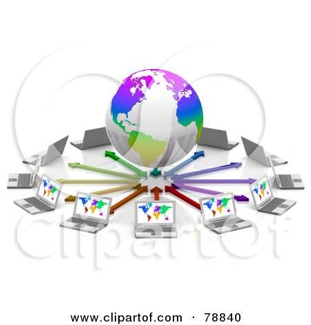 Royalty-Free (RF) Clipart Illustration of a 3d Colorful Globe Surrounded By Arrows And Laptop Computers With Colorful Maps On Their Screens by Tonis Pan