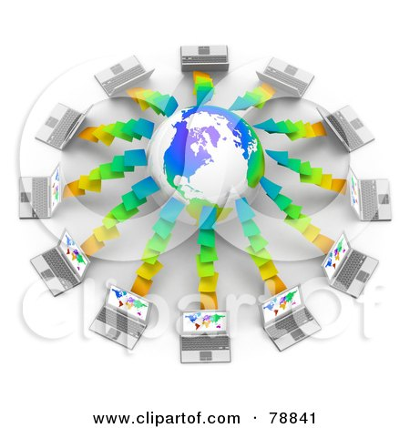 Royalty-Free (RF) Clipart Illustration of a 3d Colorful Globe Surrounded By Laptop Computers With Colorful Maps On Their Screens by Tonis Pan