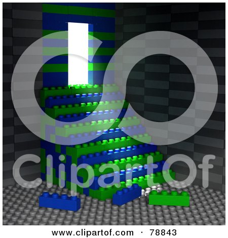 Royalty-Free (RF) Clipart Illustration of Light Shining Into A Rook Made With Building Blocks And Blue And Green Stacked Stairs by Tonis Pan