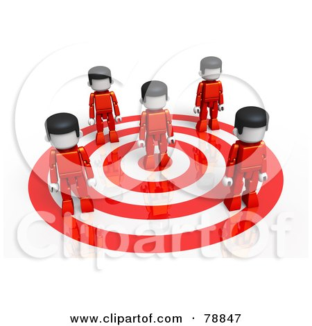 Royalty-Free (RF) Clipart Illustration of a 3d Red Group Of People Standing On A Target by Tonis Pan