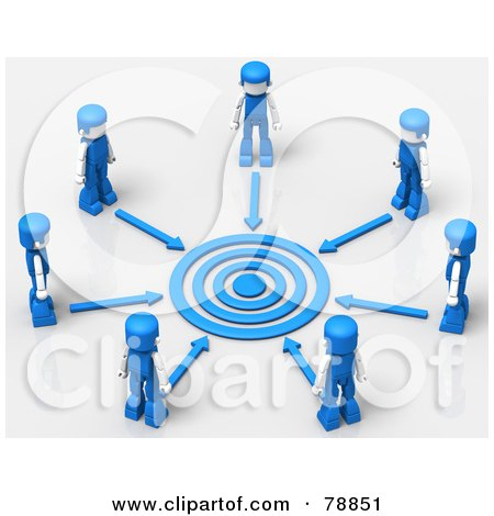 Royalty-Free (RF) Clipart Illustration of a 3d Target Circled By Arrows And Blue People by Tonis Pan
