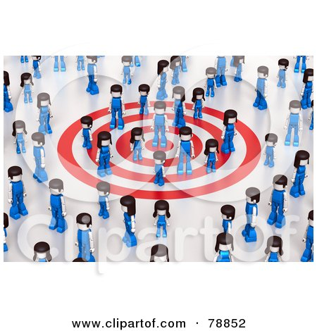 Royalty-Free (RF) Clipart Illustration of a 3d Group Of People Standing On A Target And Surrounded By Other People by Tonis Pan