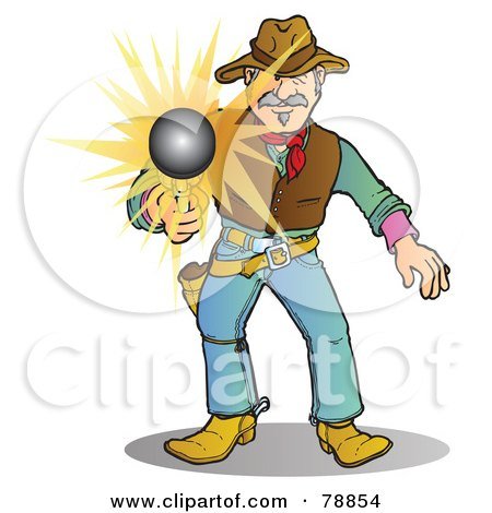 Royalty-Free (RF) Clipart Illustration of a Western Cowboy Man Shooting His Pistol, The Bullet Flying Forward by Snowy