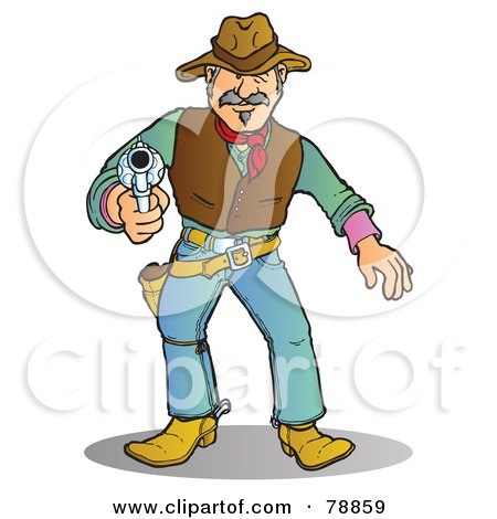 Royalty-Free (RF) Clipart Illustration of a Western Cowboy Man Prepared To Shoot His Pistol by Snowy