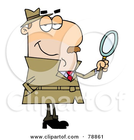 Royalty-Free (RF) Clipart Illustration of a Caucasian Cartoon Detective Man by Hit Toon