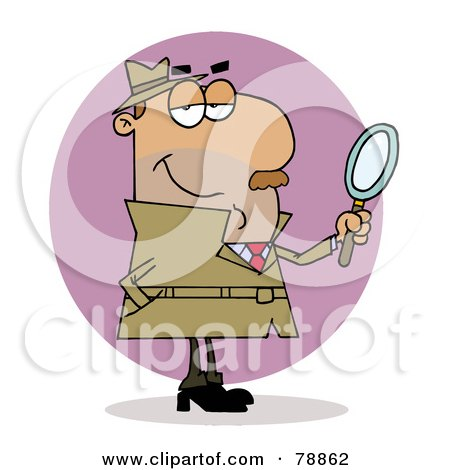 Royalty-Free (RF) Clip Art Illustration of a Hispanic Cartoon Investigator Man by Hit Toon