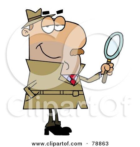 Royalty-Free (RF) Clipart Illustration of a Hispanic Cartoon Detective Man by Hit Toon