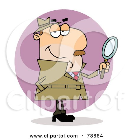 Royalty-Free (RF) Clipart Illustration of a Caucasian Cartoon Investigator Man by Hit Toon