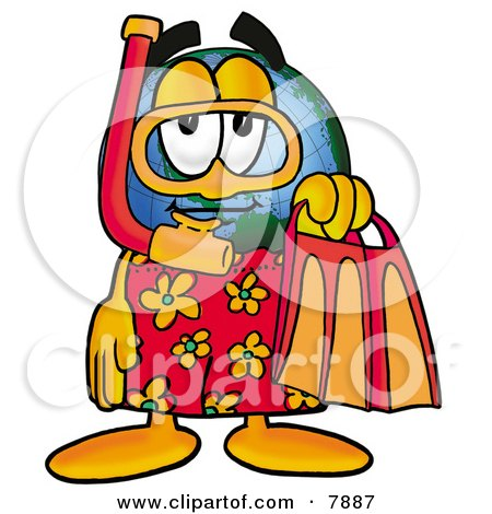 World Earth Globe Mascot Cartoon Character in Orange and Red Snorkel Gear Posters, Art Prints
