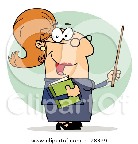 Royalty-Free (RF) Clipart Illustration of a Caucasian Cartoon Professor Woman by Hit Toon