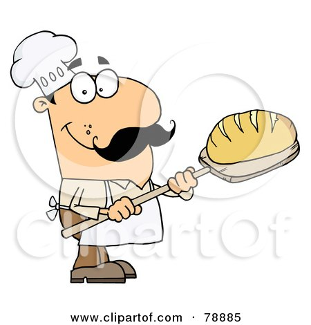 Royalty-Free (RF) Clipart Illustration of a Caucasian Cartoon Bread Baker Man by Hit Toon