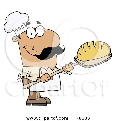 Royalty-Free (RF) Clipart Illustration of a Hispanic Cartoon Bread Baker Man by Hit Toon