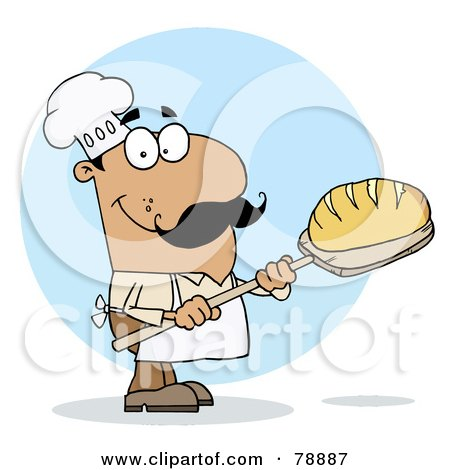 Royalty-Free (RF) Clipart Illustration of a Hispanic Cartoon Bread Maker Man by Hit Toon