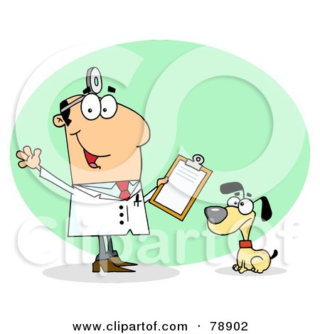 Royalty-Free (RF) Clipart Illustration of a Caucasian Cartoon Canine Veterinarian Man by Hit Toon