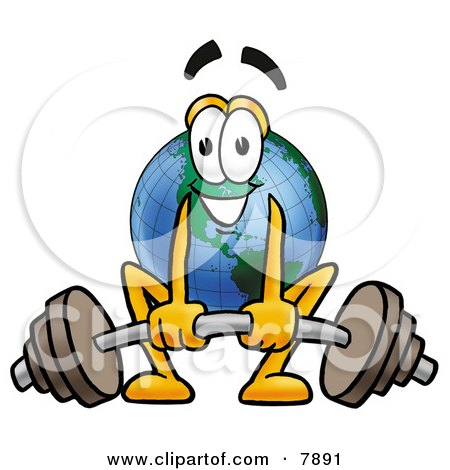 Clipart Picture of a World Earth Globe Mascot Cartoon Character Lifting a Heavy Barbell by Toons4Biz
