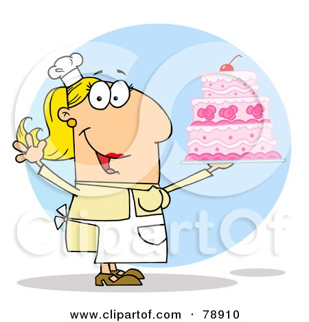 Royalty-Free (RF) Clipart Illustration of a Caucasian Cartoon Cake Maker Woman by Hit Toon
