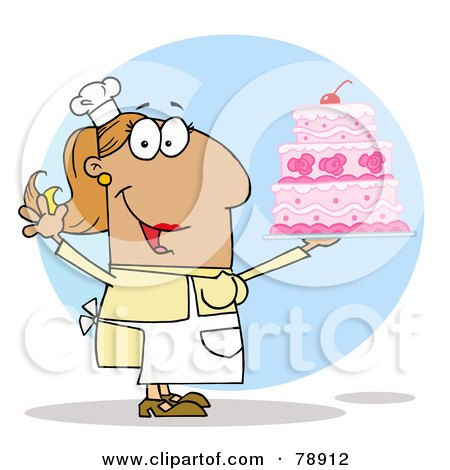 Royalty-Free (RF) Clipart Illustration of a Tan Cartoon Cake Maker Woman by Hit Toon