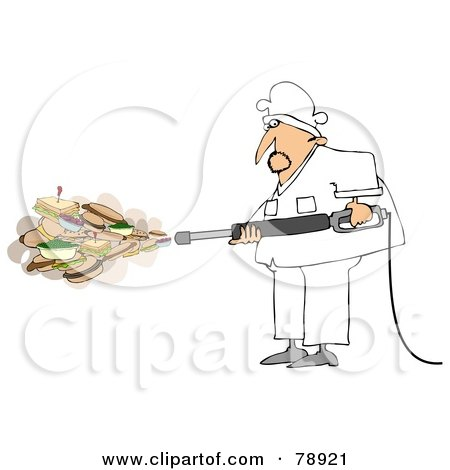 Royalty-Free (RF) Clipart Illustration of a Chef Spraying Sandwiches And Foods Out Of A Pressure Washer by djart
