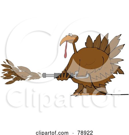 Royalty-Free (RF) Clipart Illustration of a Thanksgiving Turkey Spraying Feathers Out Of A Pressure Washer by djart