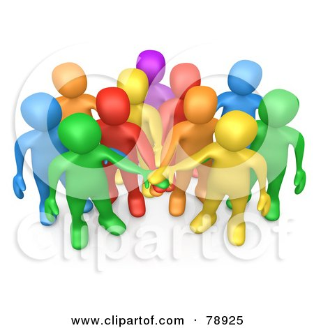Royalty-Free (RF) Clipart Illustration of a 3d Group Of Diverse Colorful People Putting Their Hands In A Pile by 3poD
