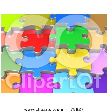 Royalty-Free (RF) Clipart Illustration of a Background Of 3d Colorful Shiny Layers Of Jigsaw Puzzle Pieces by 3poD