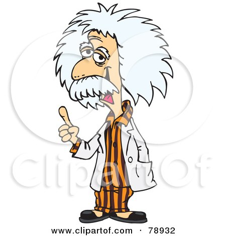 Royalty-Free (RF) Clipart Illustration of Albert Einstein Wearing Orange Pajamas by Dennis Holmes Designs