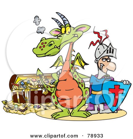 Royalty-Free (RF) Clipart Illustration of a Knight And Dragon Standing In Front Of A Treasure Chest by Dennis Holmes Designs