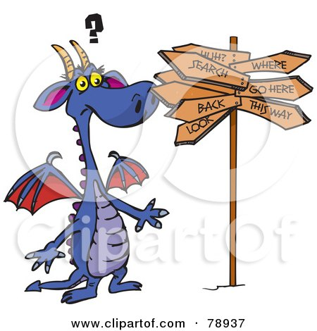 Royalty-Free (RF) Clipart Illustration of a Purple Dragon Standing Confused At A Crossroads by Dennis Holmes Designs