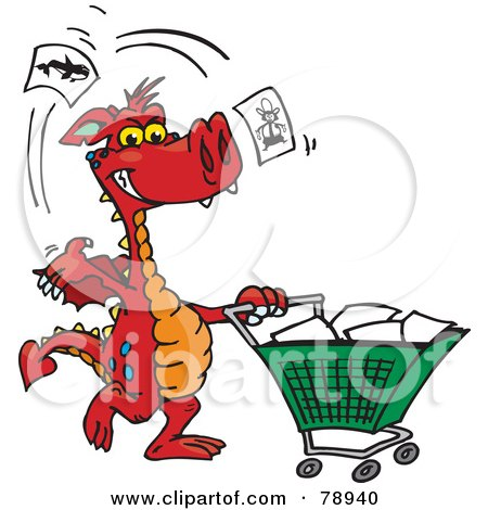 Royalty-Free (RF) Clipart Illustration of a Red Dragon Tossing Items In A Shopping Cart by Dennis Holmes Designs