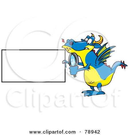 Royalty-Free (RF) Clipart Illustration of a Blue Dragon Holding A Magnifying Glass And Blank Sign by Dennis Holmes Designs