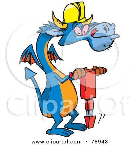Royalty-Free (RF) Clipart Illustration of a Blue Construction Worker Dragon Using A Jackhammer by Dennis Holmes Designs
