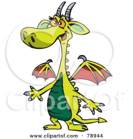 Royalty-Free (RF) Clipart Illustration of a Surprised Green Dragon With Red Wings by Dennis Holmes Designs