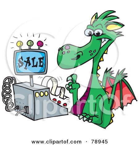 Royalty-Free (RF) Clipart Illustration of a Green Dragon Clerk Using A Cash Register by Dennis Holmes Designs