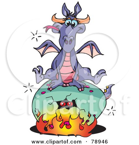 Royalty-Free (RF) Clipart Illustration of a Purple Dragon Sitting On Top Of A Cracking Fiery Egg by Dennis Holmes Designs