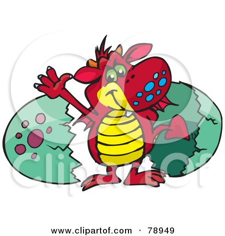 Royalty-Free (RF) Clipart Illustration of a Red Dragon Waving And Hatching From A Green Egg by Dennis Holmes Designs