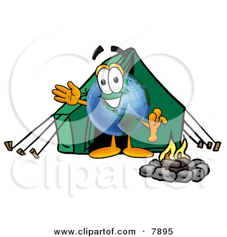 World Earth Globe Mascot Cartoon Character Camping With a Tent and Fire Posters, Art Prints