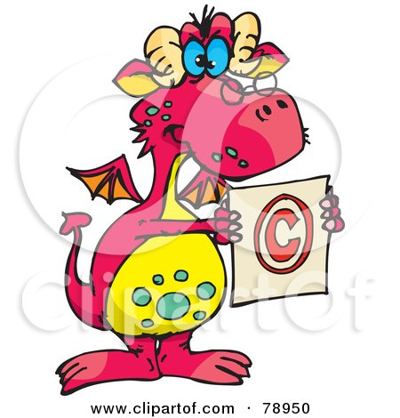 Royalty-Free (RF) Clipart Illustration of a Pink Stern Dragon Holding A Copyright Symbol by Dennis Holmes Designs