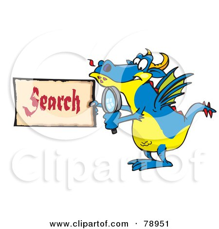 Royalty-Free (RF) Clipart Illustration of a Blue Dragon Holding A Magnifying Glass And Search Sign by Dennis Holmes Designs