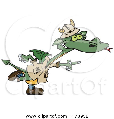 Royalty-Free (RF) Clipart Illustration of a Green Explorer Dragon Pointing To The Right by Dennis Holmes Designs