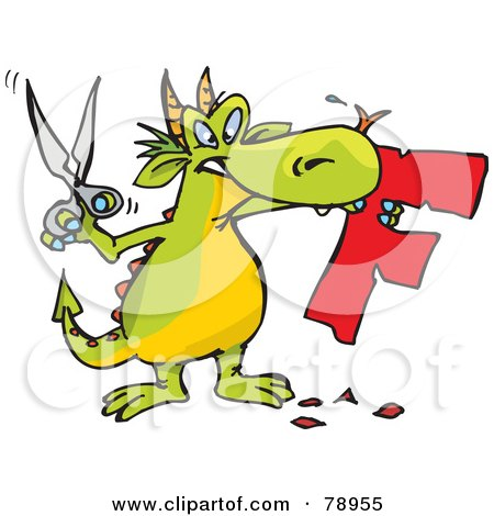 Royalty-Free (RF) Clipart Illustration of a Green Dragon Holding Scissors And A Cut Out F by Dennis Holmes Designs