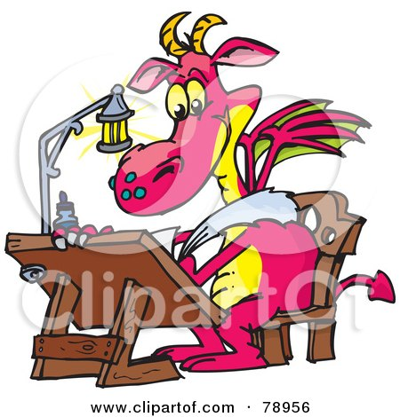 Royalty-Free (RF) Clipart Illustration of a Pink Designer Dragon Drawing At A Table by Dennis Holmes Designs