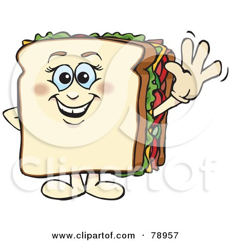 Royalty-Free (RF) Clipart Illustration of a White Bread Sandwich Character Smiling And Waving by Dennis Holmes Designs