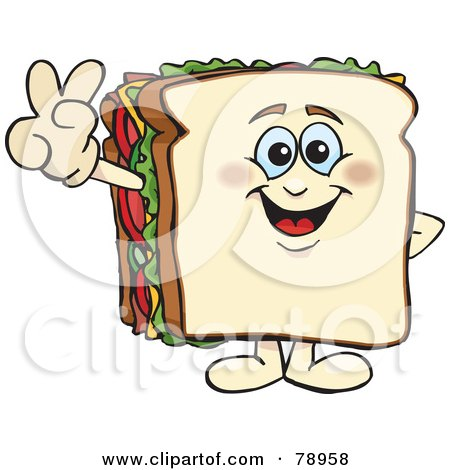 Royalty-Free (RF) Clipart Illustration of a White Bread Sandwich Character Gesturing Peace Or Victory by Dennis Holmes Designs
