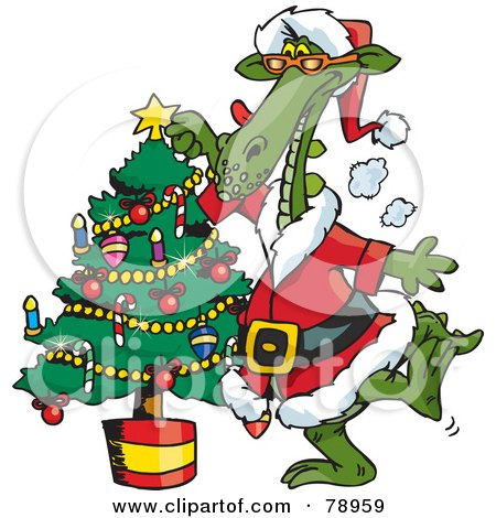Royalty-Free (RF) Clipart Illustration of a Green Santa Dragon Decorating A Christmas Tree by Dennis Holmes Designs
